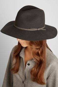 Rag   bone Leather-trimmed wool-felt fedora Felt Hat b3c85faad47