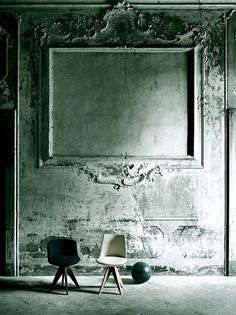 """Put frames on wall and paint it all same color """"It doesn't make a difference what temperature the room is,it's always room temperature!"""", pinned by Ton van der Veer Interior Walls, Interior Design, The Dark Side, Decorative Mouldings, Loft Design, Rustic Elegance, Wall Treatments, Textured Walls, Decoration"""