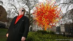 My favorite glass artist: American artist Dale Chihuly unveils his Sun installation in Berkeley Square in London, England