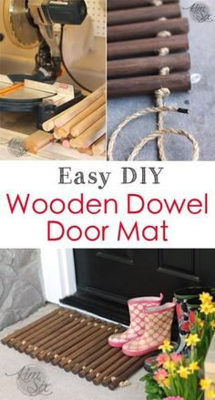 Easy DIY Wooden Dowel Doormat. How to build an easy front door mat for muddy shoes. Using nothing more than wooden dowels and sisal rope. A great starter woodworking project since the tools are so simple! You can make your own at the Home Depot #DIYWorkshop spon