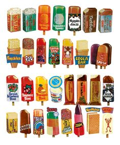 retro ice lollies - I'd forgotten about Haunted House! Gelato, Illustrations Vintage, Illustrations Posters, Mantecaditos, Food Drawing, Drawing Ideas, Japanese Graphic Design, Vintage Recipes, Vintage Food