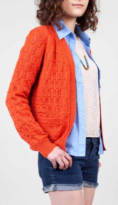 Layering: Orange Cardi + pale blue shirt + dark denim + grey tshirt