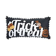 34ade212797 Glitter Printed Trick or Treat Pillow with Pom Poms