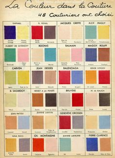 1950s Color chart of the great designers All the big names in fashion are featured like Jeanne Lanvin,  Jean Patou and Maggy Rouf, and of course Dior, Schiaparelli, and Balenciaga along with many long forgotten names, some perhaps who were the instigators of style trends, but were eclipsed by better financed and bigger names who often – lets face it – nicked their ideas.( fashion houses had no ethics in that matter).