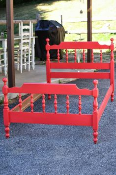Primitive & Proper: A Raspberry Red Bed and Some Fall Announcements. boys room bed color
