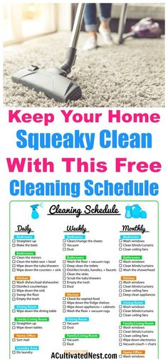Weekly Cleaning Schedule Printable- FREEGet super organized with this pretty and easy to use cleaning schedule printable. It is a weekly cleaning schedule but also lists daily, biweekly and monthly tasks. Deep Cleaning Tips, Cleaning Solutions, Cleaning Hacks, Diy Hacks, Spring Cleaning Tips, Cleaning Products, House Cleaning Checklist, Weekly Cleaning Schedule Printable, Household Cleaning Schedule