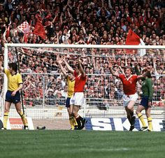 Arsenal 3 Man Utd 2 in May 1979 at Wembley. Gordon McQueen slots a goal back for United after 86 minutes in the FA Cup Final.