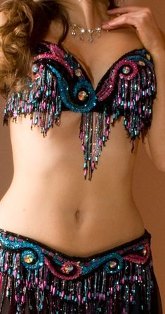 Black, pink and turquoise - Bella bra and belt Danza Tribal, Tribal Dance, Belly Dance Outfit, Belly Dance Costumes, Dance Outfits, Edm Outfits, Tiny Dancer, Rave Wear, Dance Fashion