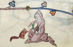 A lady with a pet squirrel, f. 33r; Luttrell Psalter, Add MS 42130, produced in Lincolnshire, England c. 1320-1340  See more at: http://britishlibrary.typepad.co.uk/digitisedmanuscripts/2013/11/marginali-yeah-take-2-the-incomparable-luttrell-psalter.html#sthash.qEKKaFYv.dpuf