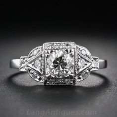 .60 Carat Art Deco Style Diamond Engagement Ring - 10-1-5851 - Lang Antiques