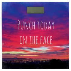 #Punch quote hot pink sunrise photo bathroom scale - #Bathroom #Accessories #home #living