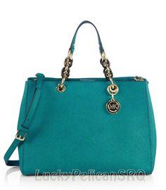 Michael Kors Cynthia Medium Saffiano Leather Aqua Green Blue Satchel Handbag NWT #MichaelKors #Satchel