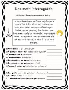 French Question Words Practice (Mots interrogatifs) with Simple Reading Passage French Language Lessons, French Language Learning, French Lessons, French Learning Games, Teaching French, French Verbs, French Grammar, French Basics, French Practice