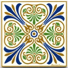 Victorian Fleur-de-Lis Tiles Wall Plaques with Ivory field VT- br br During the Victorian era circa - a new artistic expression emerged Leaves flowers vines and other botanical elements were Victorian Pattern, Victorian Tiles, Victorian Art, Tile Patterns, Pattern Art, Ancient Greek Art, Tuile, Purple Iris, Hand Painting Art