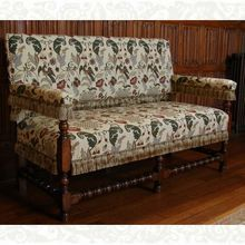 Charles II Settle, upholstered in English Needlework, designed and made by Stuart Interiors Oak Chairs, Solid Oak, All Design, Needlework, English, Couch, Interiors, Classic, Furniture