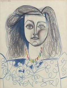 Pablo Picasso - Bust of a Woman (Françoise Gilot), 1946 Pablo Picasso Drawings, Kunst Picasso, Art Picasso, Picasso Paintings, Art Drawings, Abstract Paintings, Oil Paintings, Painting Art, Landscape Paintings