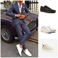 How to wear a grey flannel suit   Vans Old Skool Trainers   Converse Jack Purcell Jack Leather Trainer White/Navy   Converse All Star Fulton Trainer Beige