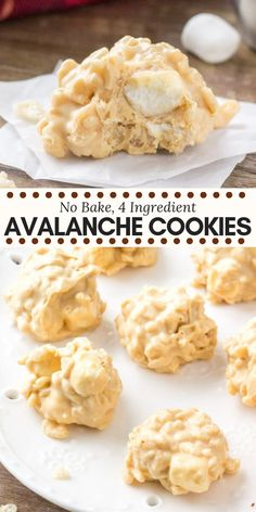 These easy no-bake avalanche cookies are crispy, crunchy, a little gooey, and filled with peanut butter and white chocolate. They're made with only 4 ingredients and are seriously addictive. no bake desserts No Bake Avalanche Cookies Easy No Bake Desserts, No Bake Treats, Yummy Treats, Delicious Desserts, Sweet Treats, Easy No Bake Recipes, Easy To Bake, Easy Things To Bake, Easy Desert Recipes