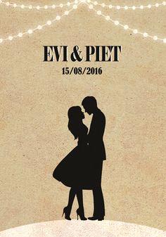 Huwelijk Evi en Piet - trouwkaart - voorkant - Pimpelpluis - https://www.facebook.com/pages/Pimpelpluis/188675421305550?ref=hl (# huwelijksuitnodiging - trouw - retro - poster - silhouet - koppel - lampjes - huwelijk - kaart - vintage - origineel)