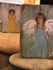 Pallet Painting, Pallet Art, Tole Painting, Painting On Wood, Christmas Paintings, Christmas Art, Angel Artwork, Angel Crafts, Learn To Paint
