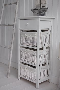 White Storage Unit Three Drawer Bedside Table
