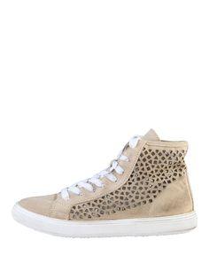 Woz, scarpe donna - 100% made in italy - sneakers stringate alte - tomaia in camoscio traforato - interno pelle, suola g - Sneakers donna dm13213 Marrone