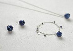 Blueberry bracelet Ceramic bracelet Lapis bracelet Silver