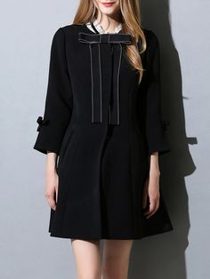 Shop Coats - Black 3/4 Sleeve Woven Bow Crew Neck Coat online. Discover unique designers fashion at StyleWe.com.