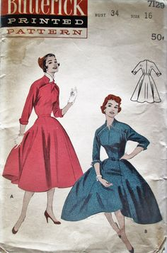 Butterick 7129 Women's 50s Full Skirted Dress Sewing Pattern Size 16 Bust 34