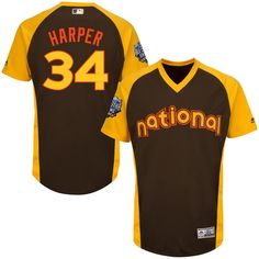 Bryce Harper Washington Nationals Majestic Youth 2016 MLB All-Star Game Batting Practice Jersey - Brown