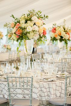 Beautiful Tall and Lush Centerpieces // Brian Dorsey Studios //  Stoneblossom Florals Weddings and Events // http://www.theknot.com/submit-your-wedding/photo/66e6c5b6-375e-43fb-b876-1d2968a5ff90/Ocean-House-Wedding