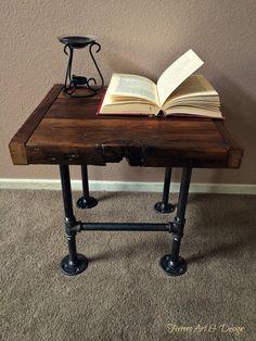 Steampunk Style Side Table Nightstand by FerreroArtDesign on Etsy