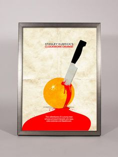 Clockwork orange print movie poster minimal art blood by TotalLost, $13.00