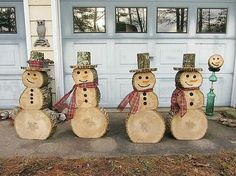 DIY Wood Slice Snowman