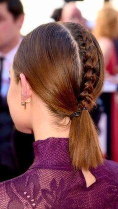 Lucy Hale adds a cute French braid addition to the back of her simple low ponytail look at the Billboard Music Awards.