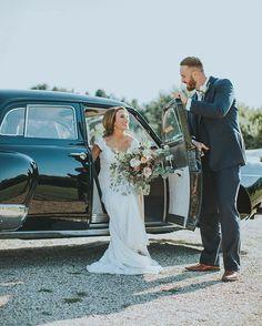 Old vintage car, boho chic wedding photos // Jordan + Matt // Eucalpytus bouquet // Navy Tuxedo, Brown Shoes // Champagne Tie // Fall Wedding // Vineyard Wedding // SoulScripts blog ♡  See more here: www.thesoulscripts.com