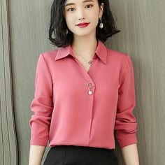 New Autumn Spring Womens Tops and Blouses Ladies Long Sleeve 2018 Shirts Casual Chiffon Blouse Work Wear Office Blusas Femininas Size S Color Black Office Outfits Women, Office Fashion Women, Work Wear Office, Office Uniform, Casual Office, Outfit Office, Stylish Office, Outfit Work, Shirt Blouses