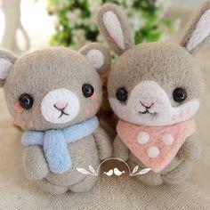 Needle Felted Felting Wool Animals Bear Bunny Scarf Cute Craft