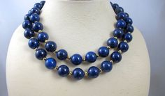Vintage Lapis Bead Necklace 14K Yellow Gold by TonettesTreasures.    330