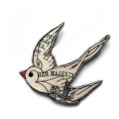 Swallow Swift Brooch literary vintage by EllyMe... - Folksy