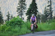 Isabel cycling through the Cascades in Washington State.