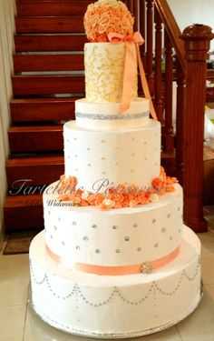 peach gold wedding theme - i made this gorgeous cake a year ago, took me a week to make it alone. It's a fake wedding cake, real cake served separately