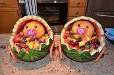 Twin Baby Shower Fruit Salad Display
