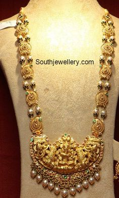 Gold Long Chain with Lakshmi Pendant