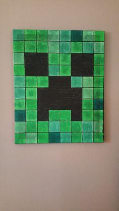 Minecraft Creeper Canvas van ComerHomeDecor op Etsy