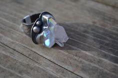 Opal Aura bague en cristal argent Sterling par PrairieFairyDesigns