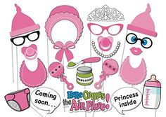 Veewon 22 St�ck Babyparty Foto Props Party Baby Flaschen Masken Photo Booth Props Neugeborene Dame Girl Partydekoration