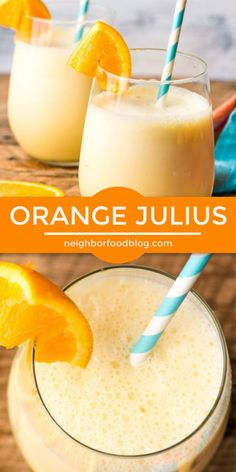 This Orange Julius is my favorite refreshing summer drink! It's made with 5 ingredients and 5 minutes! This Orange Julius is my favorite refreshing summer drink! It's made with 5 ingredients and 5 minutes! Fruit Drinks, Smoothie Drinks, Yummy Drinks, Healthy Drinks, Beverages, Orange Juice Smoothie, Orange Drinks, Brunch Drinks, Non Alcoholic Dessert Drinks
