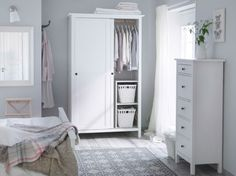 IKEA - HEMNES, chest, white stain, Of course your home should be a safe place for the entire family. That's why hardware is included so that you can attach the chest of drawers to the wall. Made of solid wood, which is a durable and warm natural material. Closet Ikea, Closet Bedroom, Bedroom Storage, Girl Closet, Closet Doors, Master Bedroom, Ikea Bedroom Furniture, White Furniture, Bedroom Decor