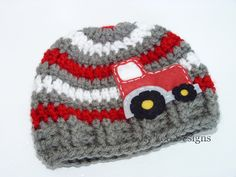 $24.00 Crochet Tractor Hat - Newborn Photo Prop -Sizes NEWBORN TO 12 MONTHS, Baby Boy, Baby Girl, Striped Beanie   (additional colors available). $24.00, via Etsy.